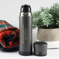 Personalised Engraved Father's Day Stainless Steel Grey Thermos Flask Present