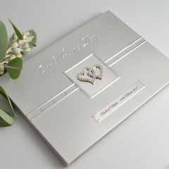 Personalised engraved silver metal wedding reception guest book