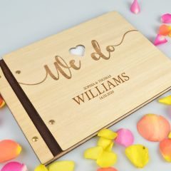 Personalised engraved light wooden guest reception wedding book