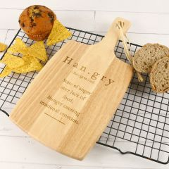 Engraved 'Hangry' Wooden Cheese Serving Paddle Board Birthday Present