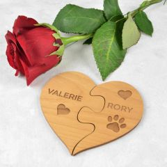 Personalised Engraved Valentine's Day Wooden Heart Puzzle Magnet Set Present