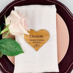 Personalised Engraved Wooden Heart Shaped Wedding Place Card