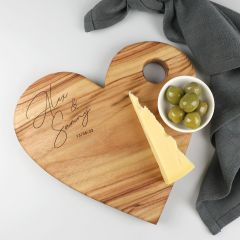 Personalised Engraved Heart Shaped Cheese Board Wedding Present