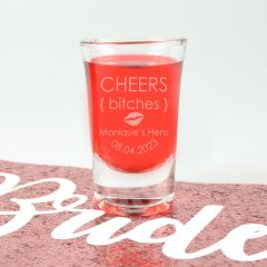 "Personalised Engraved ""Cheers Bitches"" Hen's Party Shot Glasses Present"