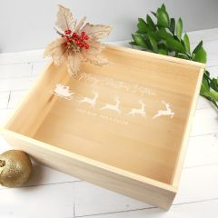 Custom Designed Engraved Wooden Christmas Box With Clear Acrylic Lid Present
