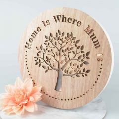 """""""Home is Where Mum is"""" Round Wooden Light Box"""