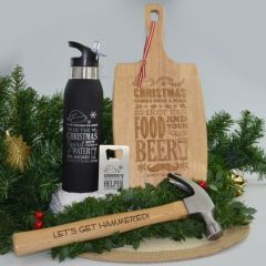 Personalised Engraved His Christmas Hamper that include wooden Serving Paddle Board, Water Bottle, Credit Card Bottle Opener and Hammer.