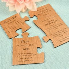 Personalised Engraved Wooden Weeding Invitation and Save the Date Puzzle Invitation
