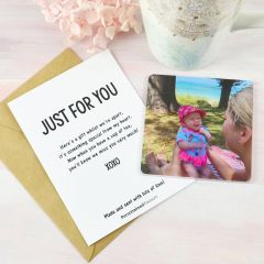 Personalised Just for You Card with Photo Printed Acrylic Coaster