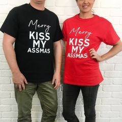 Inappropriate Christmas black and red t-shirt Merry Kiss My Assmas