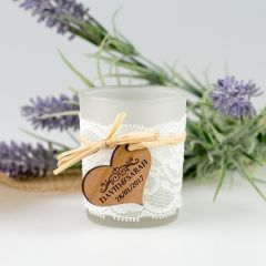 Lace Frosted Glass Tea Light Holder with Personalised Engraved Wooden Gift Tag