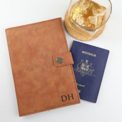 Personalised Engraved Father's Day Tan Leather Passport Holder Present