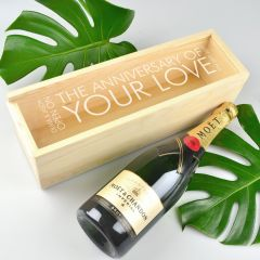 Engraved LIMITED EDITION Wooden Wine and Champagne Box - Natural