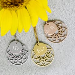 Personalised Mandala Necklace with Engraved Initial Pendant Birthday Present