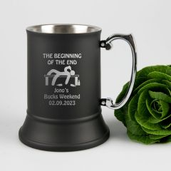 Personalised engraved matte black metal wedding beer mug for groom, best man and groomsman