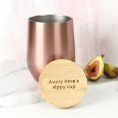 Custom Mother's Day Rose Gold 360mL Wine Sipper with Engraved Bamboo Lid