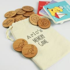 Personalised Engraved Wooden Animal Memory Game children present