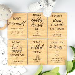 Personalised Engraved Funny Baby Milestone Cards Present