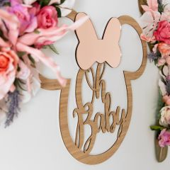 Personalised laser Cut Minnie Mouse 'Oh Baby' Bamboo Sign