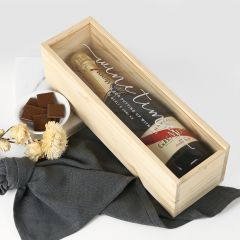 Personalised Engraved Natural Wood Champagne Box With Clear Acrylic Lid Mother's Day Present