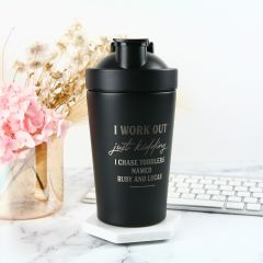 Mother's Day 600ml Stainless Steel Black Protein Shaker Present