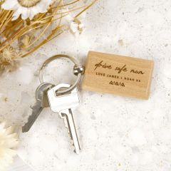 Personalised Engraved Wooden Rectangle Mother's Day Keyring Present