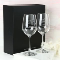 Personalised Engraved Twin Mother's Day Wine Glasses Present