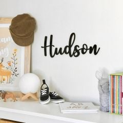 Laser Cut Black Acrylic Nursery Name Plaque with Adhesive Backing