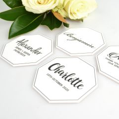 Personalised black print on white acrylic octagon wedding placecards