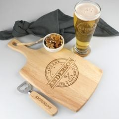 Personalised Engraved Father's Day Hamper include wooden paddle board, schooner beer glass and wooden handle bottle opener