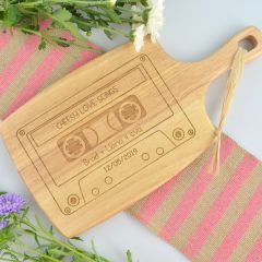 Personalised engraved Retro Cassette Design Paddle Chopping Board gift