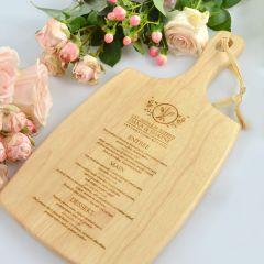 Engraved Personalised Wedding Wooden Paddle Board Menu