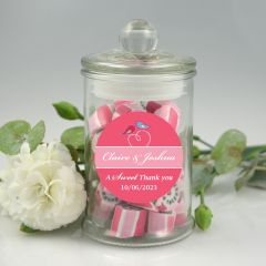 French tipped lid lolly jars with a Personalised Round wedding sticker.