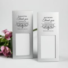 Personalised Engraved Godparent's Silver Photo Frame Present for Christenings, Baptisms and Naming Days
