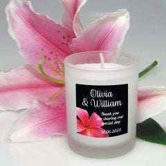 Votive Candle Wedding Favour With Personalised Printed Label