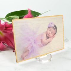 Personalised Colour Printed Godparents Baby Photo Bamboo wooden frame present