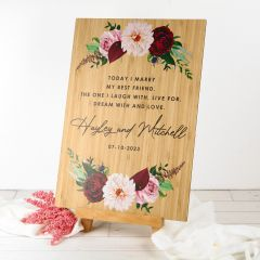 Personalised A3 Printed Bamboo Wedding Welcome Sign