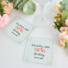 Personalised Full Colour Print 30th Birthday Glass Coaster Present