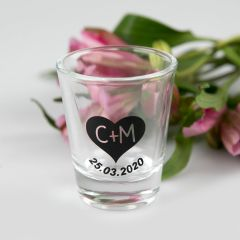 Personalised Colour Printed Wedding Shot Glasses Favour