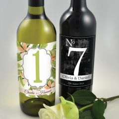 Full Colour Print Wedding Table Number Wine Labels