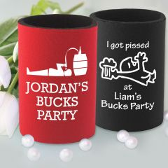 "Printed ""I got Pissed at [groom's] Buck's Party""  Stubby Holders Favours"