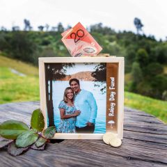 Photo Printed Rainy Day Fund Wooden Money Box
