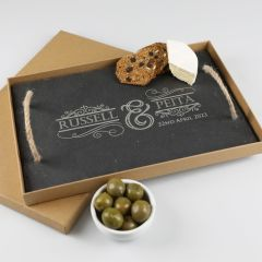 Customised Engraved Rectangle Wedding Slate Cheese Board Present