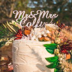 Mirror Rose Mr & Mrs Surname cake topper Gold Cake Topper