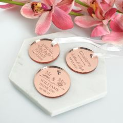 Personalised Engraved circle Round Rose Gold Wedding Favour Gift Tags