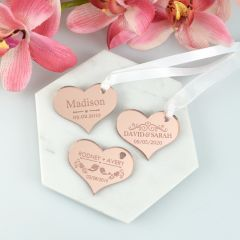 Engraved Personalised Mirror Rose Gold Acrylic Heart Wedding Gift Tags