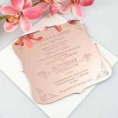 Personalised Engraved Mirror Rose Gold Acrylic Wedding Invitation