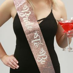 Personalised Printed Rose Gold Glitter Hens Party Sash Present
