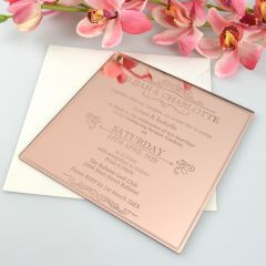 Personalised Engraved Mirror Rose Gold Acrylic Wedding Invitation