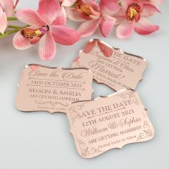 Personalised Engraved Mirror Rose Gold Acrylic Wedding 'Save the Date' Cards